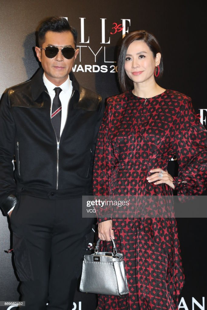 Actress Jessica Hester Hsuan (R) and actor Louis Koo attend the 2017 ELLE Style Awards Ceremony on October 2, 2017 in Hong Kong, China.