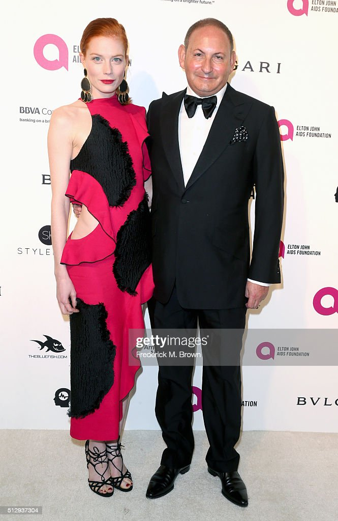 Actress Jessica Joffe and The Estée Lauder Companies Inc John Demsey attend the 24th Annual Elton John AIDS Foundation's Oscar Viewing Party on...