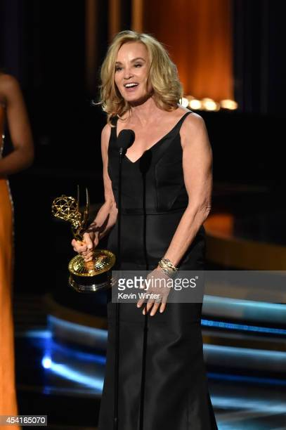 Actress Jessica Lange accepts Outstanding Lead Actress in a Miniseries or Movie for 'American Horror Story Coven' onstage at the 66th Annual...