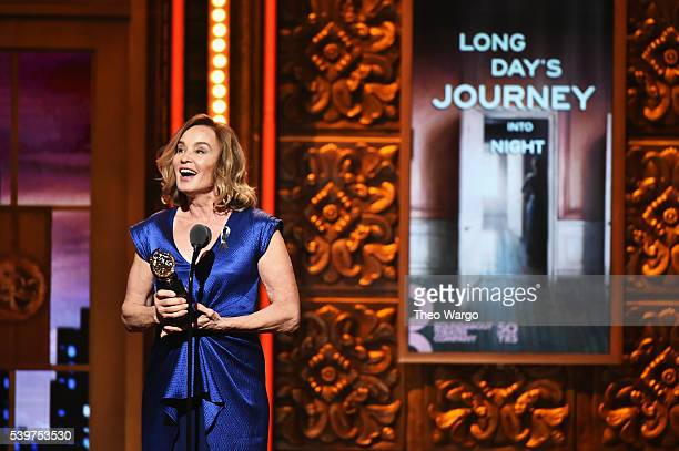 Actress Jessica Lange accepts the award for Best Performance by an Actress in a Leading Role in a Play for 'Long Day's Journey Into Night' onstage...