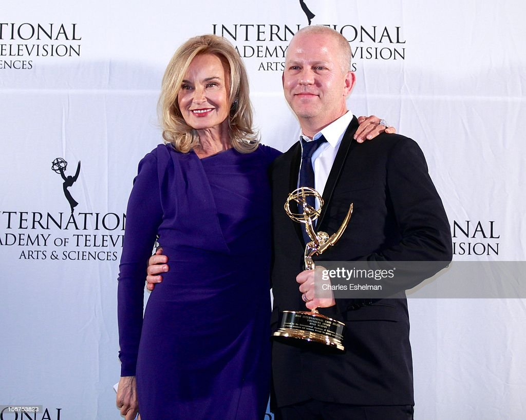 Actress <a gi-track='captionPersonalityLinkClicked' href=/galleries/search?phrase=Jessica+Lange&family=editorial&specificpeople=203310 ng-click='$event.stopPropagation()'>Jessica Lange</a> and Founder winner Ryan Murphy attend the 40th International Emmy Awards at Mercury Ballroom at the New York Hilton on November 19, 2012 in New York City.