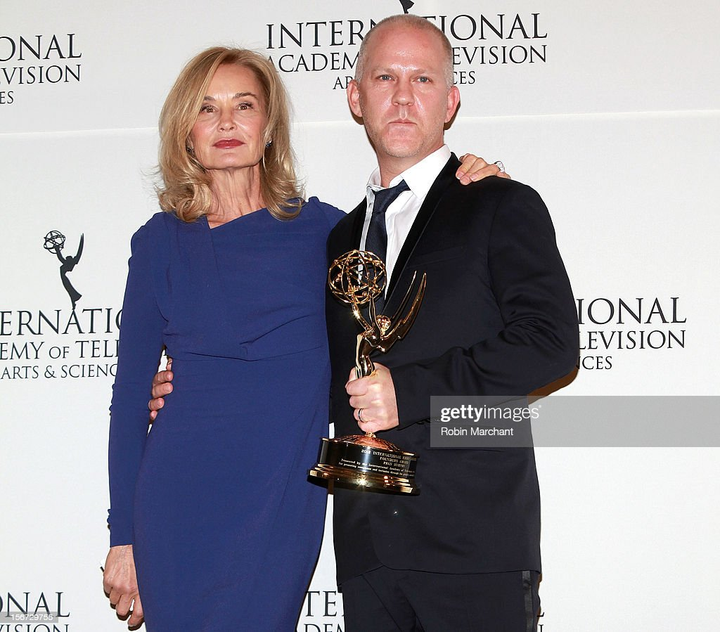 Actress <a gi-track='captionPersonalityLinkClicked' href=/galleries/search?phrase=Jessica+Lange&family=editorial&specificpeople=203310 ng-click='$event.stopPropagation()'>Jessica Lange</a> (L) and screenwriter/director/producer Ryan Murphy attend the 40th International Emmy Awards on November 19, 2012 in New York City.