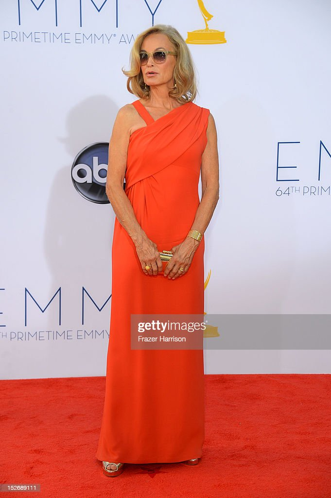 Actress <a gi-track='captionPersonalityLinkClicked' href=/galleries/search?phrase=Jessica+Lange&family=editorial&specificpeople=203310 ng-click='$event.stopPropagation()'>Jessica Lange</a> arrives at the 64th Annual Primetime Emmy Awards at Nokia Theatre L.A. Live on September 23, 2012 in Los Angeles, California.