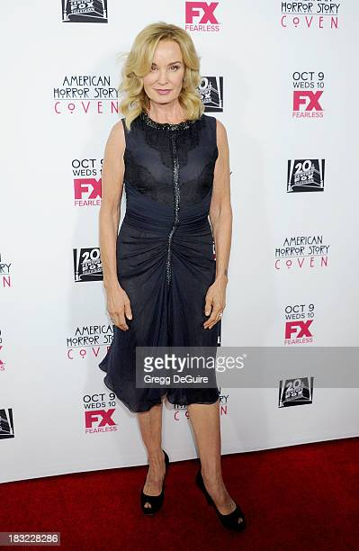 Actress Jessica Lange arrives at the Los Angeles premiere of FX's 'American Horror Story Coven' at Pacific Design Center on October 5 2013 in West...