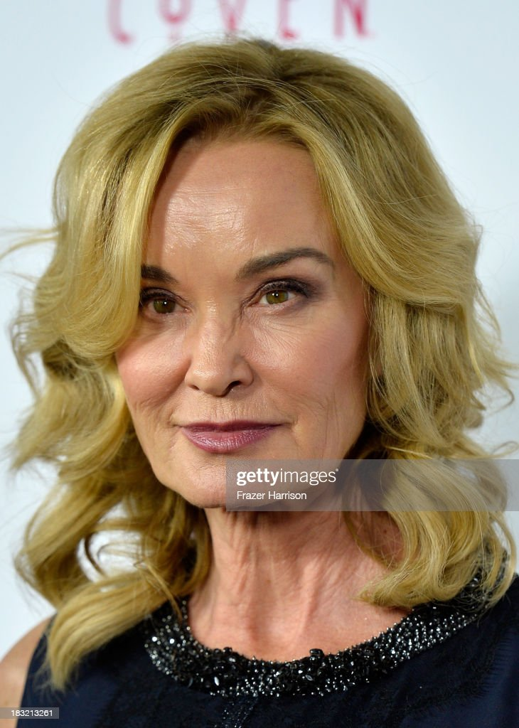 Actress <a gi-track='captionPersonalityLinkClicked' href=/galleries/search?phrase=Jessica+Lange&family=editorial&specificpeople=203310 ng-click='$event.stopPropagation()'>Jessica Lange</a> arrives at the premiere of FX's 'American Horror Story: Coven' at Pacific Design Center on October 5, 2013 in West Hollywood, California.