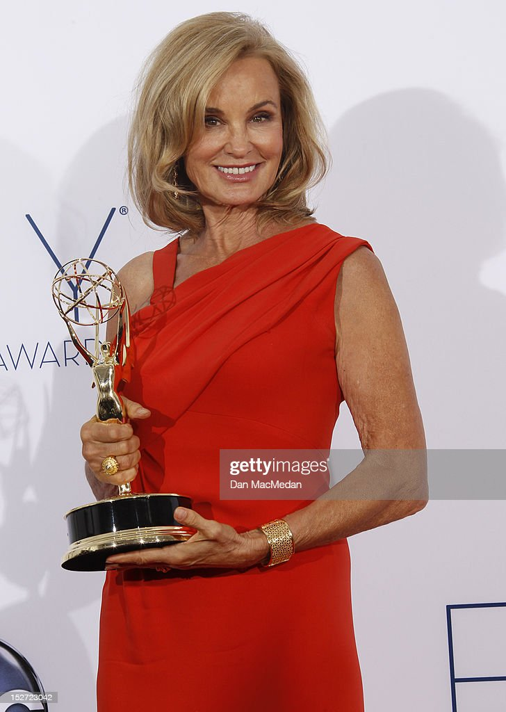 Actress <a gi-track='captionPersonalityLinkClicked' href=/galleries/search?phrase=Jessica+Lange&family=editorial&specificpeople=203310 ng-click='$event.stopPropagation()'>Jessica Lange</a> poses in the press room at the 64th Primetime Emmy Awards held at Nokia Theatre L.A. Live on September 23, 2012 in Los Angeles, California.