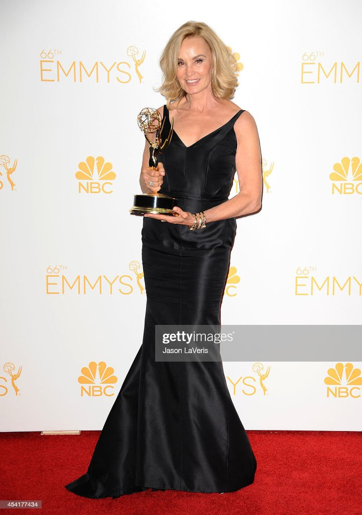 Actress <a gi-track='captionPersonalityLinkClicked' href=/galleries/search?phrase=Jessica+Lange&family=editorial&specificpeople=203310 ng-click='$event.stopPropagation()'>Jessica Lange</a> poses in the press room at the 66th annual Primetime Emmy Awards at Nokia Theatre L.A. Live on August 25, 2014 in Los Angeles, California.
