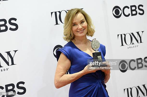 Actress Jessica Lange poses with award for Best Performance by a Leading Actress in a Play during the 70th Annual Tony Awards at The Beacon Theatre...
