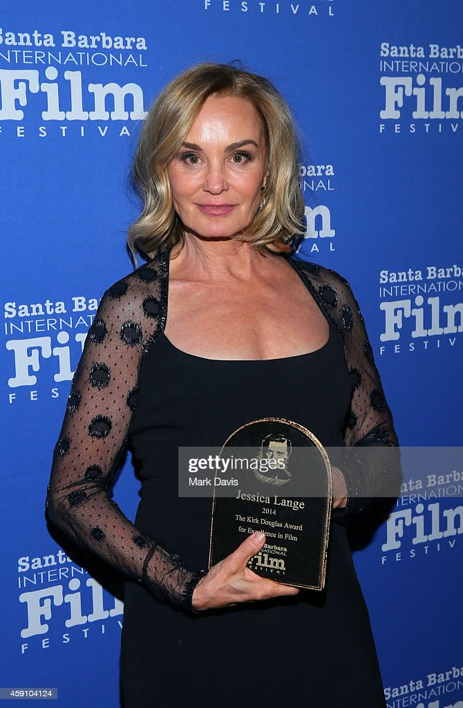 Actress Jessica Lange poses with her award at the Santa Barbara International Film Festival 9th Annual Kirk Douglas Award for Excellence in Film honoring Jessica Lange held at the Bacara Resort on November 16, 2014 in Goleta, California