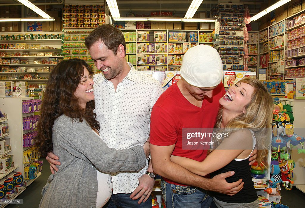 Actress Jessica Leccia, Brian Malloy, actor Don Money and actress Marcy Rylan shop at Buy Buy Baby on April 20, 2009 in New York City.