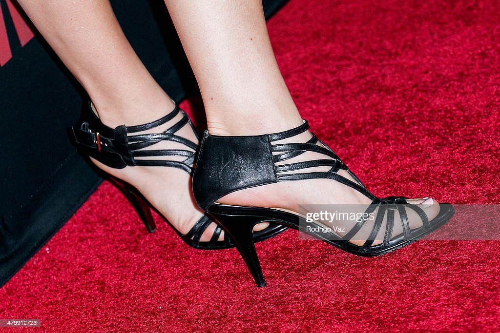 Actress Jessica Lindsey (shoe detail) attends the 'Cesar Chavez' Los Angeles Premiere at TCL Chinese Theatre on March 20, 2014 in Hollywood, California.