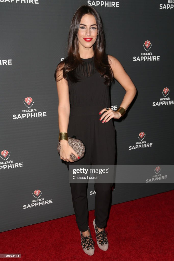 Actress <a gi-track='captionPersonalityLinkClicked' href=/galleries/search?phrase=Jessica+Lowndes&family=editorial&specificpeople=3960270 ng-click='$event.stopPropagation()'>Jessica Lowndes</a> arrives at the Beck's Sapphire launch event on January 17, 2013 in Beverly Hills, California.