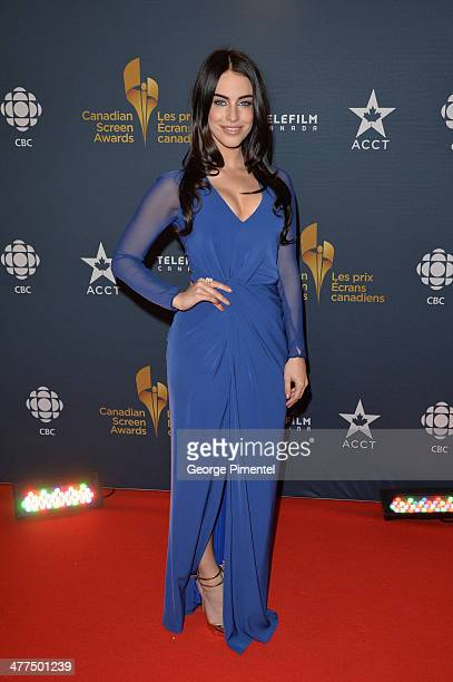 Actress Jessica Lowndes arrives at the Canadian Screen Awards at Sony Centre for the Performing Arts on March 9 2014 in Toronto Canada
