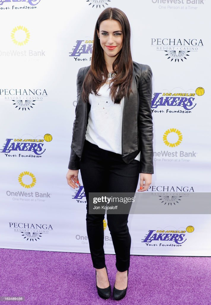Actress Jessica Lowndes arrives at the Lakers Casino Night at Club Nokia on March 10, 2013 in Los Angeles, California.