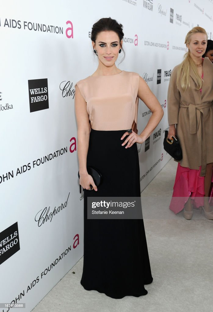 Actress Jessica Lowndes attends Chopard at 21st Annual Elton John AIDS Foundation Academy Awards Viewing Party at West Hollywood Park on February 24, 2013 in West Hollywood, California.