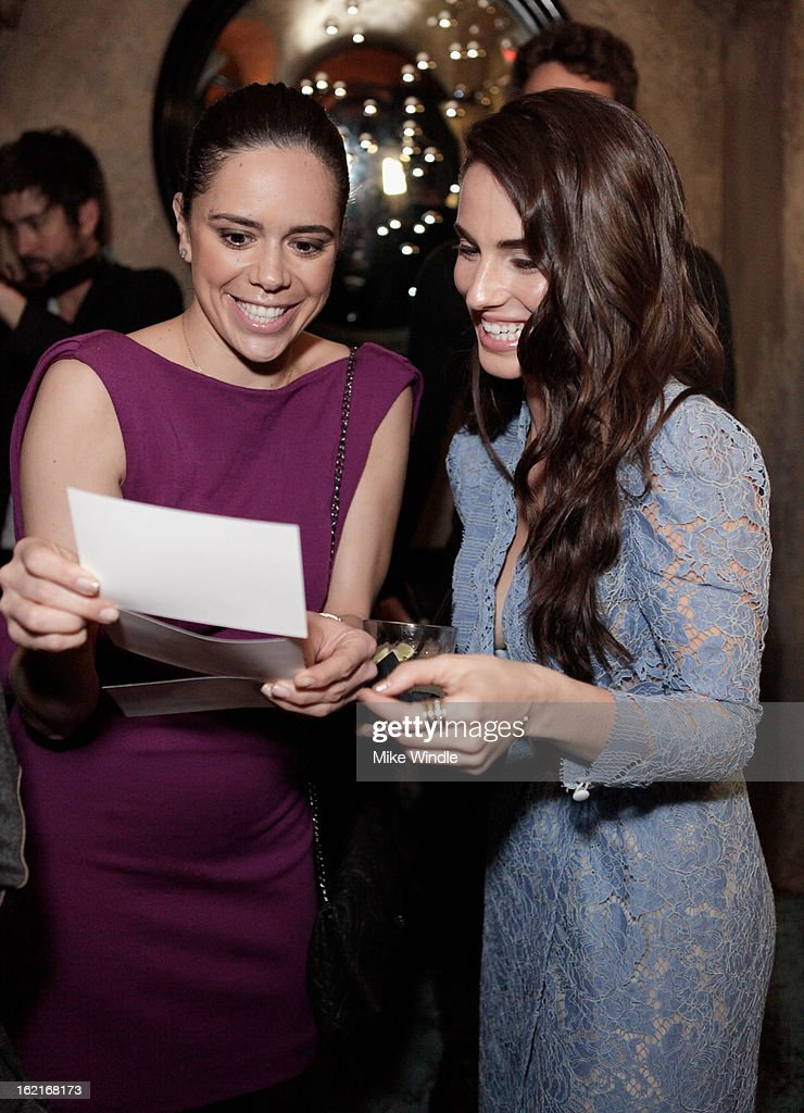 Actress Jessica Lowndes (R) attends Vanity Fair and L'Oréal Paris-hosted D.J. Night with Freida Pinto in support of 10 x 10 and 'Girl Rising' at Teddy's at The Hollywood Roosevelt Hotel on February 19, 2013 in Los Angeles, California.