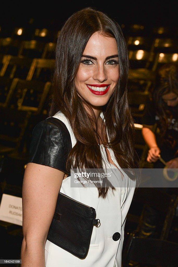 Actress <a gi-track='captionPersonalityLinkClicked' href=/galleries/search?phrase=Jessica+Lowndes&family=editorial&specificpeople=3960270 ng-click='$event.stopPropagation()'>Jessica Lowndes</a> attends World MasterCard Fashion Week Fall 2013 at David Pecaut Square on March 21, 2013 in Toronto, Canada.