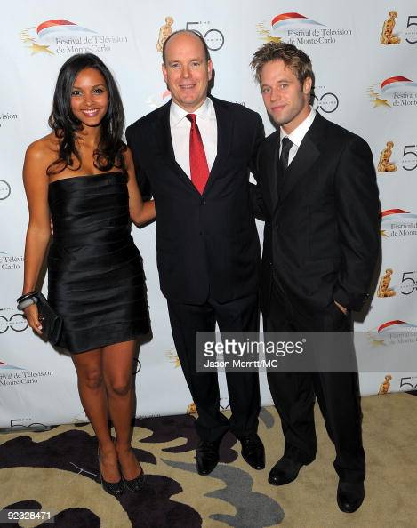OUT*** Actress Jessica Lucas HSH Prince Albert II of Monaco and guest attend the Monte Carlo Television Festival cocktail party held at the Beverly...