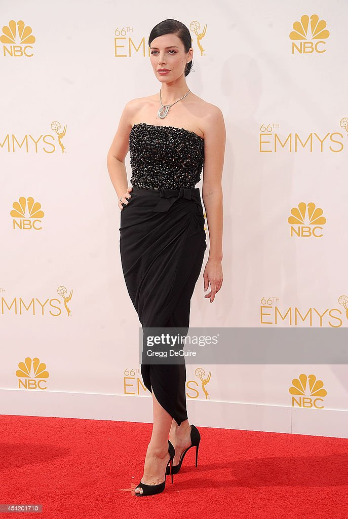 Actress Jessica Pare arrives at the 66th Annual Primetime Emmy Awards at Nokia Theatre L.A. Live on August 25, 2014 in Los Angeles, California.