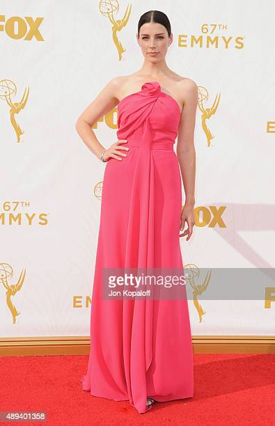 Actress Jessica Pare arrives at the 67th Annual Primetime Emmy Awards at Microsoft Theater on September 20 2015 in Los Angeles California