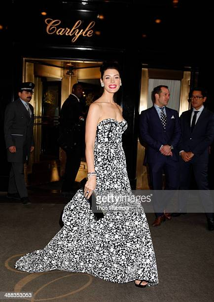 Actress Jessica Pare attends Met Gala 2014 Departures From The Carlyle in New York City