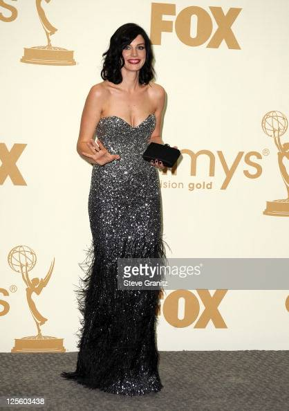 Actress Jessica Pare poses in press room during the 63rd Primetime Emmy Awards at the Nokia Theatre LA Live on September 18 2011 in Los Angeles...