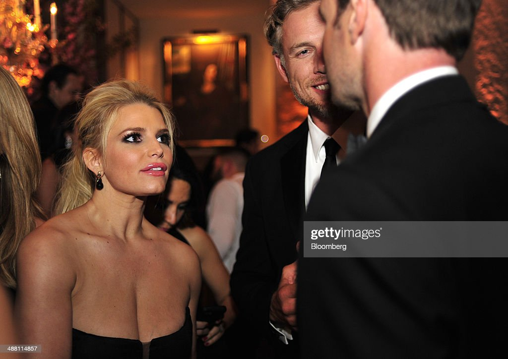 Actress Jessica Simpson attends the Bloomberg Vanity Fair White House Correspondents' Association (WHCA) dinner afterparty in Washington, D.C., U.S., on Saturday, May 3, 2014. The WHCA, celebrating its 100th anniversary, raises money for scholarships and honors the recipients of the organization's journalism awards. Photographer: Pete Marovich/Bloomberg via Getty Images