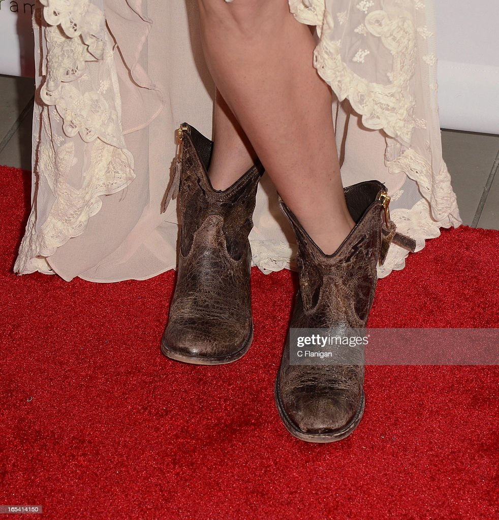 Actress Jessica Stroup (Boot Detail) arrives at H&M's Exclusive Conscious Collection Launch Party on April 3, 2013 in San Francisco, California.