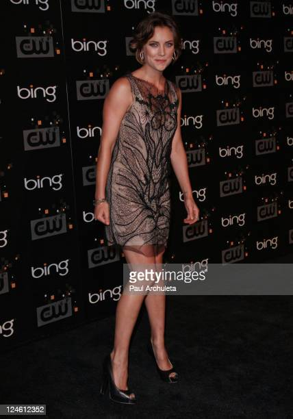 Actress Jessica Stroup arrives at the The CW premiere party at Warner Bros Studios on September 10 2011 in Burbank California