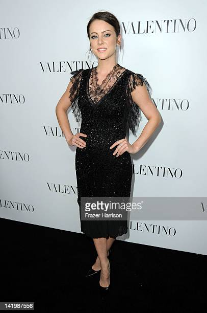 Actress Jessica Stroup arrives at Valentino Rodeo Drive Flagship store opening on March 27 2012 in Beverly Hills California