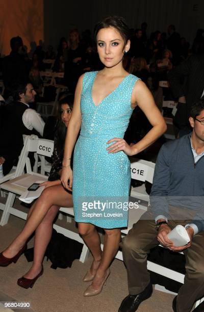 Actress Jessica Stroup attends the Brian Reyes Fall 2010 Fashion Show during MercedesBenz Fashion Week at The Promenade at Bryant Park on February 17...