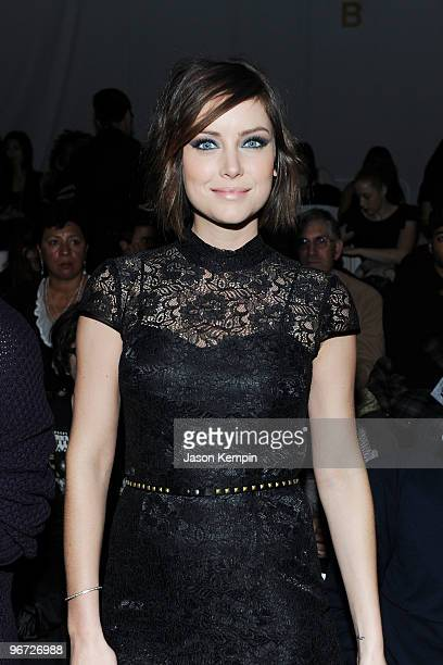 Actress Jessica Stroup attends the Perry Ellis Fall 2010 Fashion Show during MercedesBenz Fashion Week at the Promenade at Bryant Park on February 15...