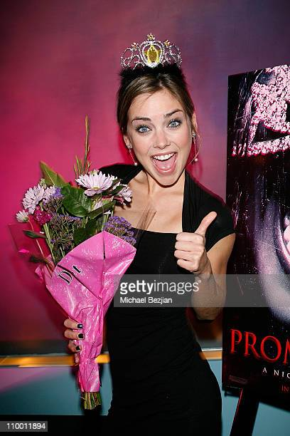 Actress Jessica Stroup poses at the Prom Night Realease Party with Cast and Crew on April 10 2008 at the Whiskey Blue in Los Angeles