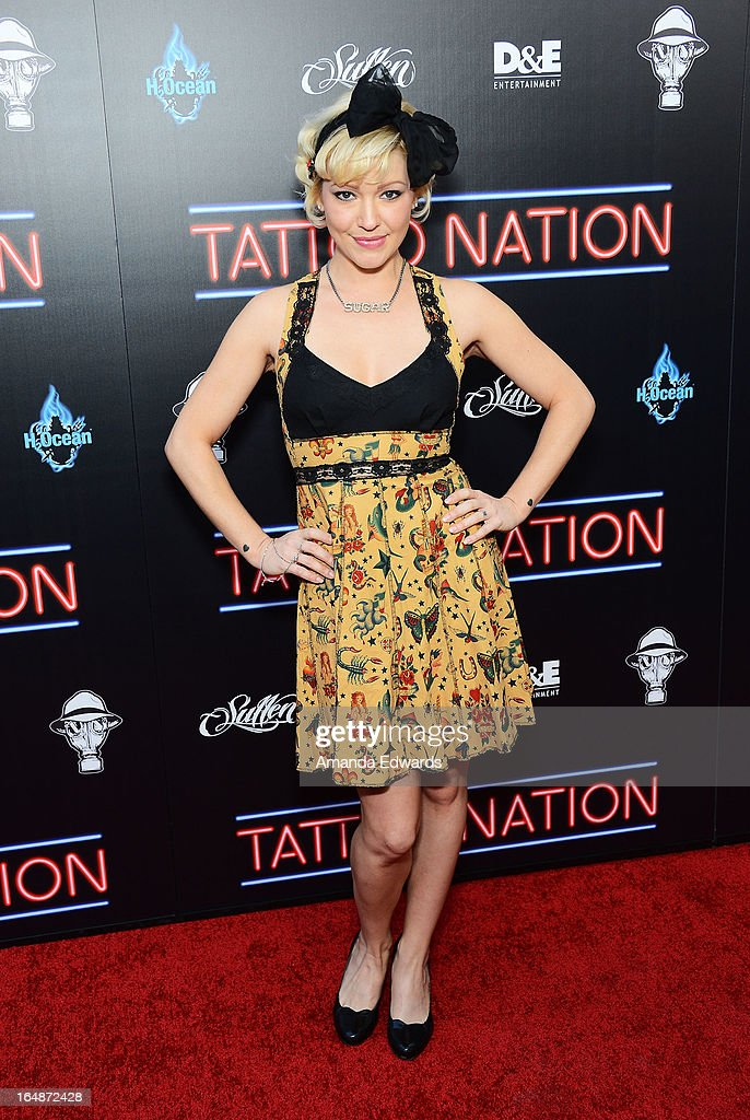 Actress Jessica 'Sugar' Kiper arrives at the premiere of 'Tattoo Nation' at ArcLight Cinemas on March 28, 2013 in Hollywood, California.