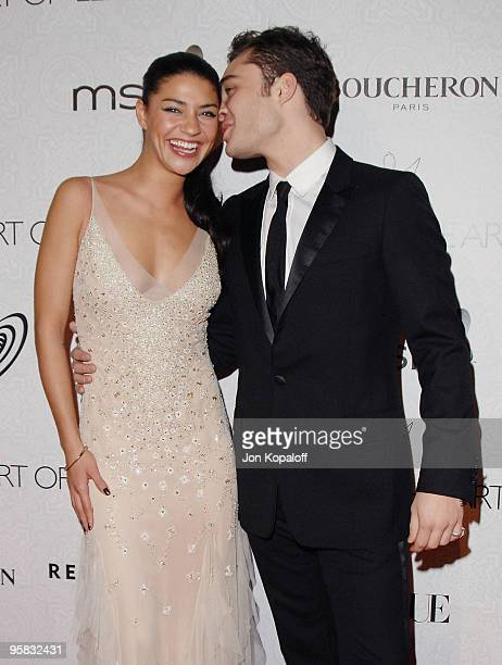 Actress Jessica Szohr and actor Ed Westwick arrive at The Art of Elysium's 3rd Annual BlackTie Charity Gala 'Heaven' at 9900 Wilshire Blvd on January...