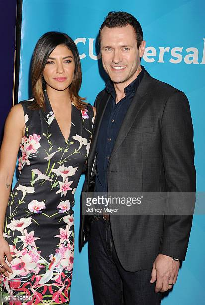 Actress Jessica Szohr and actor Jason O'Mara attend the NBCUniversal 2015 Press Tour at the Langham Huntington Hotel on January 15 2015 in Pasadena...