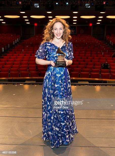 Actress Jessie Mueller of 'Beautful The Carole King Musical' celebrates her Grammy win with Carole King's own Grammy Award at Stephen Sondheim...