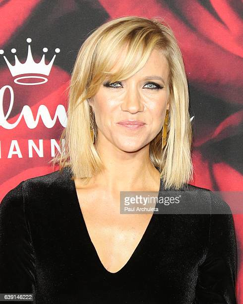 Actress Jessy Schram attends the Hallmark Channel and Hallmark Movies and Mysteries Winter 2017 TCA Press Tour at The Tournament House on January 14...