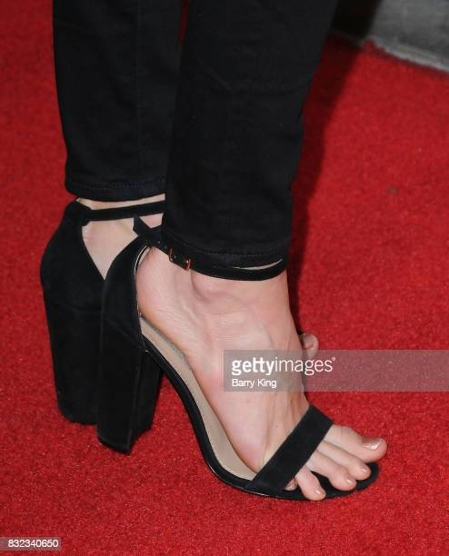 Actress Jessy Schram shoe detail attends screening of Saban Films and DIRECTV's' 'Shot Caller' at The Theatre at Ace Hotel on August 15 2017 in Los...