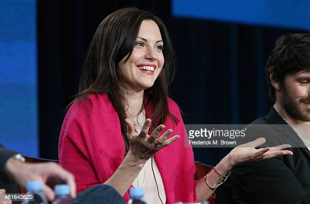 Actress Jill Flint speaks onstage during the 'The Night Shift' panel discussion at the NBC/Universal portion of the 2015 Winter TCA Tour at the...