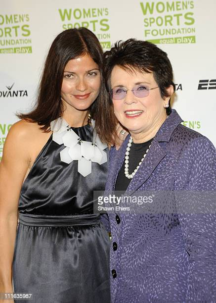 Actress Jill Hennessy and Tennis player Billie Jean King attend the 29th annual Salute to Women in Sports Awards at the WaldorfAstoria on October 14...