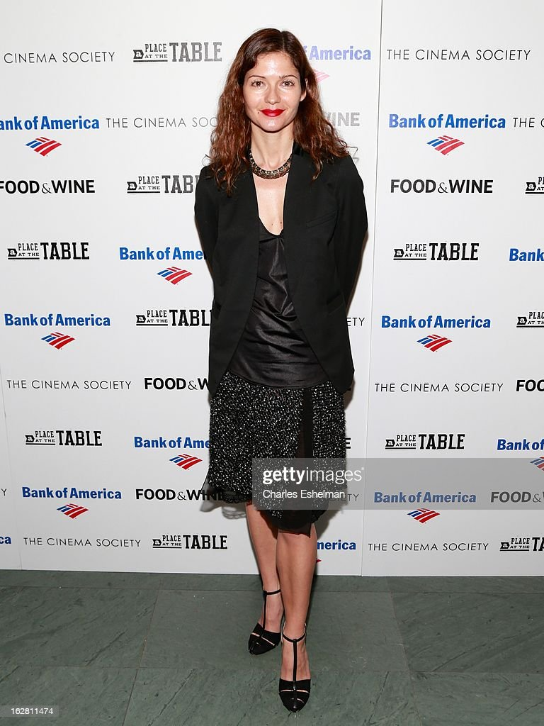 Actress Jill Hennessy arrives at Bank of America and Food & Wine with The Cinema Society present a screening of 'A Place at the Table' at the Celeste Bartos Theater at the Museum of Modern Art on February 27, 2013 in New York City.