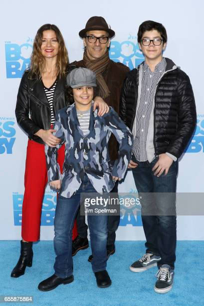 Actress Jill Hennessy Gianni Mastropietro Paolo Mastropietro and Marco Mastropietro attend 'The Boss Baby' New York premiere at AMC Loews Lincoln...