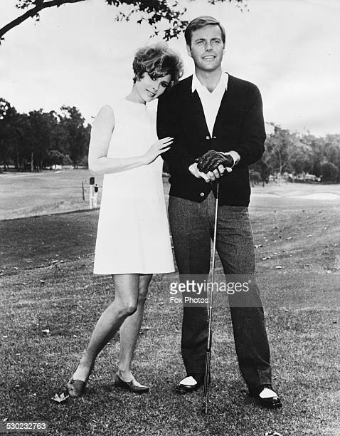 Actress Jill St John giving moral support to actor Robert Wagner during a round of golf to promote their movie 'Banning' Los Angeles CA January 7th...