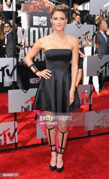 Actress Jill Wagner arrives at the 2014 MTV Movie Awards at Nokia Theatre LA Live on April 13 2014 in Los Angeles California
