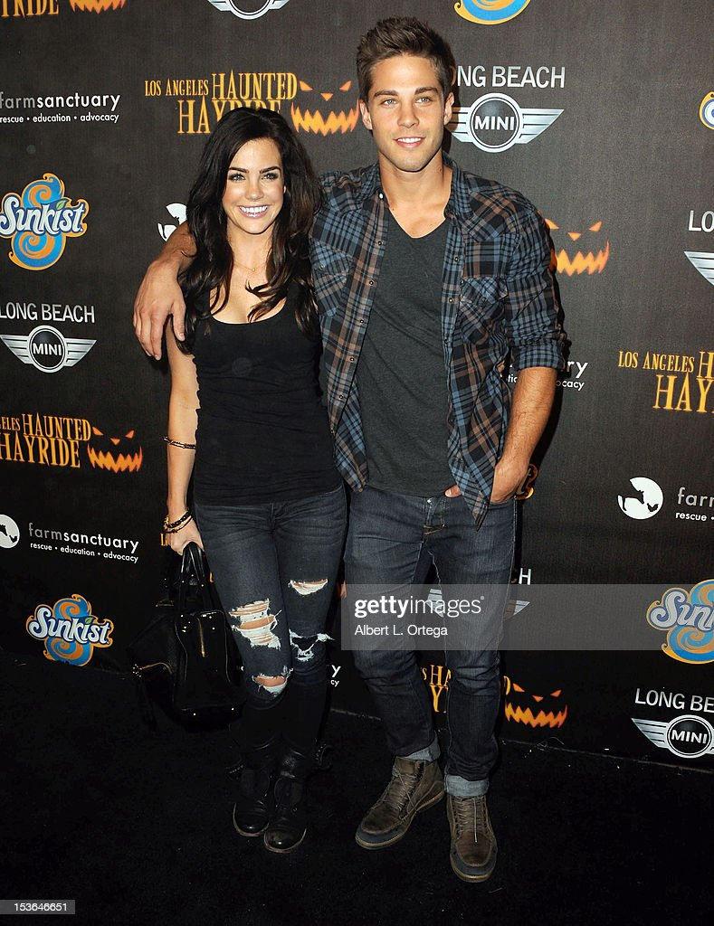 Actress Jillian Murray and actor Dean Geyer arrive for the 4th Annual Los Angeles Haunted Hayride - 'The Congregation' - Arrivals held at Griffith Park on October 7, 2012 in Los Angeles, California.