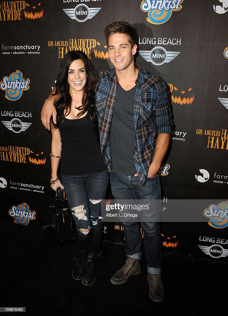 Actress Jillian Murray and actor Dean Geyer arrive for the 4th Annual Los Angeles Haunted Hayride 'The Congregation' held at Griffith Park on October...