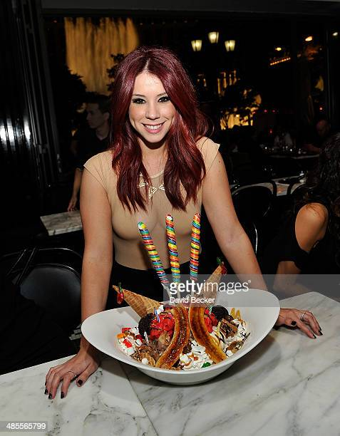 Actress Jillian Rose Reed appears at the Sugar Factory Bar Grill at the Paris Las Vegas on April 18 2014 in Las Vegas Nevada