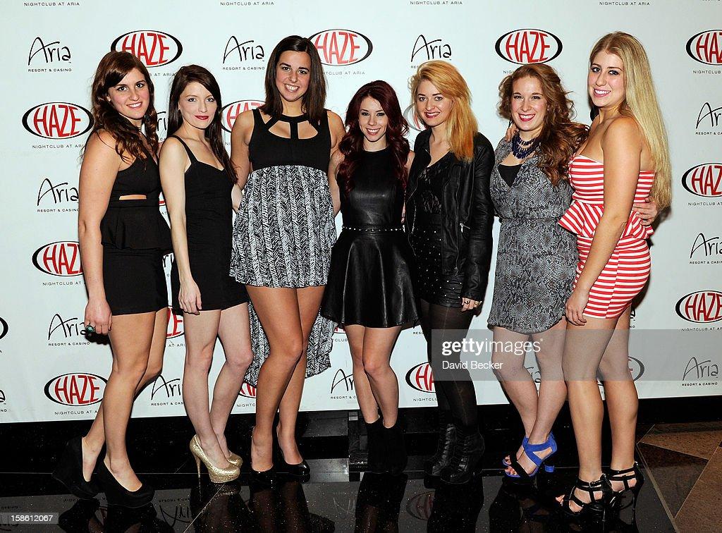 Actress Jillian Rose Reed (C) arrives at Haze Nightclub at the Aria Resort & Casino at CityCenter to celebrate her 21st birthday on December 20, 2012 in Las Vegas, Nevada.