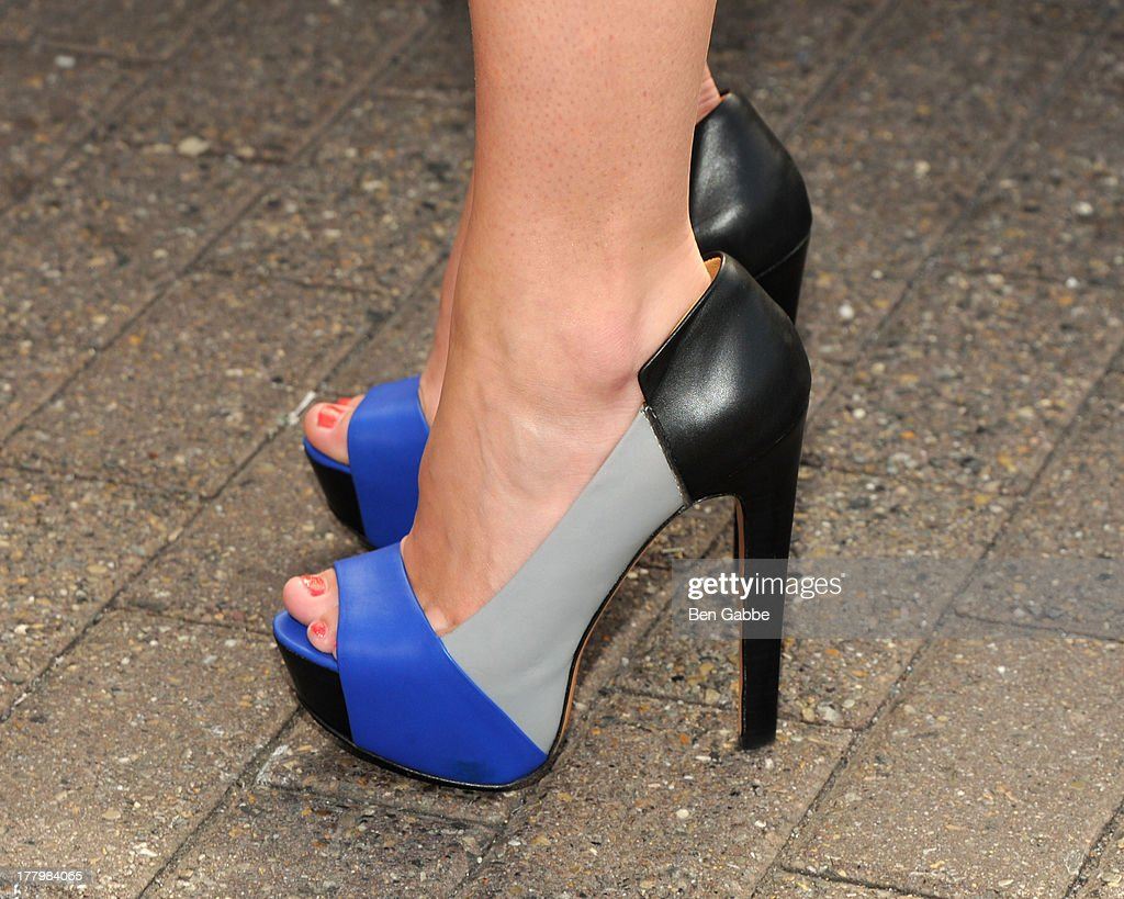 Actress <a gi-track='captionPersonalityLinkClicked' href=/galleries/search?phrase=Jillian+Rose+Reed&family=editorial&specificpeople=7430633 ng-click='$event.stopPropagation()'>Jillian Rose Reed</a> (shoe detail) at The Empire State Building on August 26, 2013 in New York City.